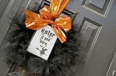 Halloween Wreath...Not crazy about the vibrant Orange Ribbon but could change that