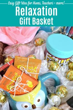 How to make a DIY Relaxation Gift Basket. Easy tips + tutorial! This creative survival kit is full of customizable relaxing gifts for anyone who's overworked or stressed. These easy Relaxation Gift Ideas are ideal for moms, teens, friends, and for men. Makes a fun DIY gift basket idea for Mother's Day, Christmas, or Teacher Appreciation. Perfect for a fundraiser raffles, too! | Hello Little Home #giftidea #giftbaskets #giftbasketideas #giftsforher #giftguide #relaxation #stressrelief