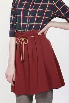 Miss Patina/ミスパティーナ - ベルト付きハイウエストスカート (バーガンディ) - ファッション通販セレクトショップ SIAMESE/サイアミーズ