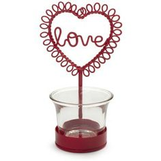 Love Themed Red Tealight Holder - Sweet! Valentines Day
