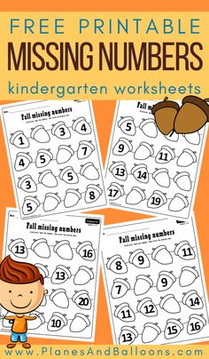 In this article: Free printable fall missing number worksheets for kindergarten. Help your kindergarten students practice counting to 20 with these free printable missing numbers worksheets… Number Worksheets Kindergarten, Numbers Kindergarten, Kindergarten Learning, Kindergarten Centers, Math Centers, Writing Worksheets, Teaching Math, Fall Preschool, Preschool Activities