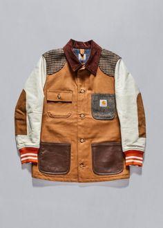 Mens Junya Watanabe x Carhartt duck chore coat with blanket lining and varsity jacket sleeves. Only Fashion, Mens Fashion, Leather Varsity Jackets, Revival Clothing, Carhartt Jacket, Work Jackets, Men's Jackets, Denim Jacket Men, Junya Watanabe