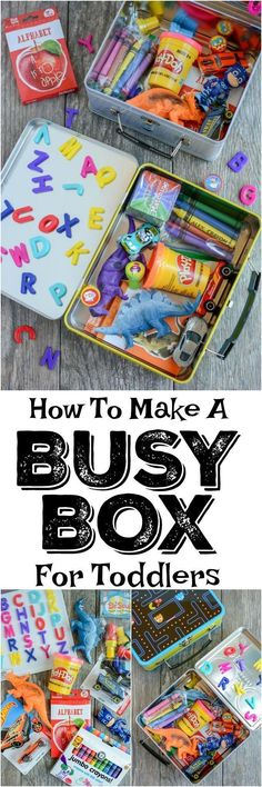 Toddler tips and activities. Learn how to make a busy box for toddlers. These boxes are easy to customize and perfect for keeping toddlers occupied at a restaurant, on a plane, while mom is nursing and more! Toddler Play, Toddler Learning, Baby Play, Toddler Crafts, Toddler Busy Bags, Busy Kids, Toddler Games, Baby Crafts, Kids Boys