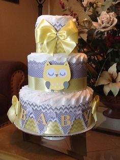Neutral diaper cake/ Owl diaper cake/ Owl baby shower Centerpiece/Gift/Yellow and grey diaper cake/Yellow and Grey Owl baby shower/