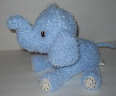 "SOLD! Hallmark Andy Elephant Blue Plush Stuffed Animal Curly Polka Dot 11"" Sewn Eyes #Hallmark"
