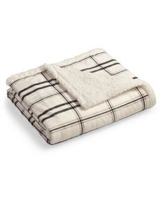 Closeout! Martha Stewart Collection Classic Reversible Micromink Faux Sherpa Throw, Only at Macy's  - Tan/Beige