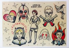 American Horror Story Flash Sheet, 11x17 print of flash painting. This print is on a semi-gloss cardstock