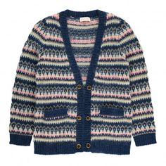 Cardigan Jacquard Lurex Hippy Bleu marine  Simple Kids
