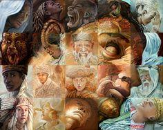 Mozaiek van Lewis Lavoie gebaseerd op het beroemde schilderij over de schepping van de mens van Michelangelo. Vele culturen.