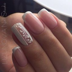 47 ideas french manicure designs lace for 2019 French Manicure Designs, French Tip Nails, Nail Art Designs, Short French Nails, Bride Nails, Wedding Nails, Hair Wedding, Manicure And Pedicure, Gel Nails