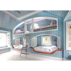 Neil Landino Cool Bunk Beds Built In Bunks Awesome Bedrooms Modern Bunk Beds, Cool Bunk Beds, Kids Bunk Beds, Twin Beds, Lofted Beds, Dream Rooms, Dream Bedroom, Girls Bedroom, Bedroom Bed