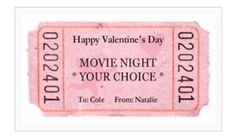 Frugal Life Project: Free Ticket Printable - Great for Valentine's Day!