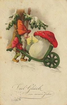 "Zwerg Postkarte 001 - Amanita muscaria, the most easily recognised ""toadstool"", is frequently depicted in fairy stories and on greeting cards. It is often associated with gnomes. Vintage Christmas Cards, Christmas Images, Vintage Holiday, Vintage Cards, Vintage Postcards, Christmas Gnome, Christmas Art, Winter Christmas, Christmas Design"