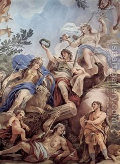 Luca Giordano:Frescoes in the gallery of the Palazzo Medici-Riccardi in Florence, scene crowning Fortitudo with honor wreath