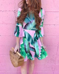 pink palmed dress