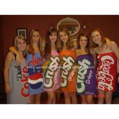Different sodas/drinks for Halloween costume. Totally should do this for Halloween with my friends!