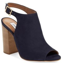 Navy blue, peep toe, sling back, stacked heel sandals