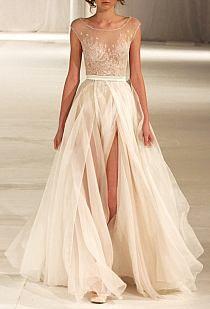 Simple and classy ecru long dress