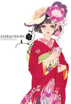 Matsuo Hiromi Art Render 02 by holichii on DeviantArt Manga Anime, Manga Art, Anime Art, Kimono Yukata, Anime Kimono, Japanese Illustration, Manga Illustration, Doll Painting, Japan Girl