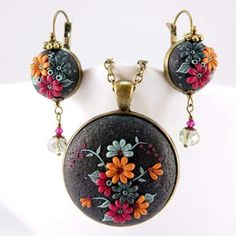 Polymer Clay Earrings and Pendant.  No information available.