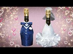 YouTube Wedding Wine Bottles, Champagne Bottles, Wine Glass Crafts, Wine Bottle Crafts, Bottle Painting, Bottle Art, Wedding Crafts, Diy Wedding, Diy Glasses