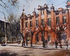 Vjacheslav Kurseev Watercolor City, Watercolor And Ink, Watercolor Paintings, Watercolors, Art Watch, Civil Engineering, Art School, Painting Inspiration, Graphic Design
