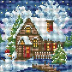 DPAZ1566 Cross Stitch Christmas Cards, Cross Stitch Cards, Christmas Cross, Cross Stitch Embroidery, Cross Stitch Patterns, Modele Pixel, Cross Stitch House, Cross Stitch Landscape, Loom Patterns