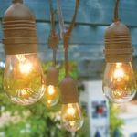 BLOWOUT 10 Socket Outdoor Commercial String Light Set, S14 Bulbs, 21 FT Brown Cord w/ E26 Medium Base, Weatherproof - 21.00