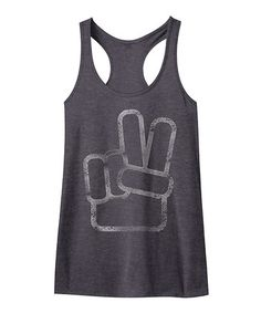 Another great find on #zulily! Charcoal Heather Peace Sign Racerback Tank #zulilyfinds