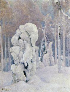 The Life and Art of Pekka Halonen, Kinahmin Talvea (Winter in Kinahmi), 1923 Romanticism Paintings, Russian Painting, Nordic Art, Tree Artwork, Canadian Art, Winter Wonder, Global Art, Winter Landscape, Lovers Art