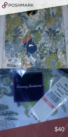 """New With Tags, Tommy Bahama camp shirt, 3XB Christmas present alert!!! NWT, never out of the bag it was shipped in. Gorgeous Tommy Bahama camp shirt. White background with a """"Hawaiian-shirt"""" style flower print. 100% tencel. Size 3XB, chest measures 31.5 inches across laying flat. 33 inches long from shoulder to hem. I have two more NWT Tommy Bahama shirts listed. Bundle and save! Tommy Bahama Shirts Casual Button Down Shirts"""