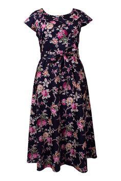 Laua Ashley-Black Floral Dress