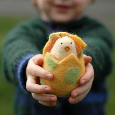 Handmade Easter chick in an egg by Bossy's Feltworks. Sweet!