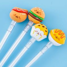 Happy Fast Food Snack Pen Kawaii Pens, Kawaii Gifts, Puppy Ice Cream, Japanese Pen, Pen Toppers, Leather Diary, Animal Pajamas, Pen Shop, Cute Office