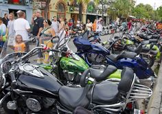 Bikes line Duval Street during the annual Key West Poker Run in Key West.