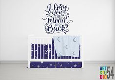 I Love you to the Moon and Back Vinyl Wall Decal - Vinyl Wall Sticker Decal Decoration -  White, Black, Gold, Silver - artstudio54
