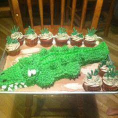 """Alligator cake carved out of a 13x9 cake for a """"Swamp People"""" themed birthday party"""