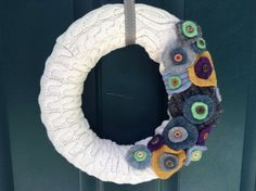Hey, I found this really awesome Etsy listing at https://www.etsy.com/listing/237271504/upcycled-ivory-cableknit-sweater-wreath