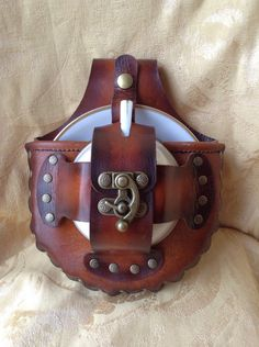 Steampunk Tea Cup Holster https://www.etsy.com/listing/479715571/brown-leather-tea-cup-steampunk-holster #steampunk #teacup #leather