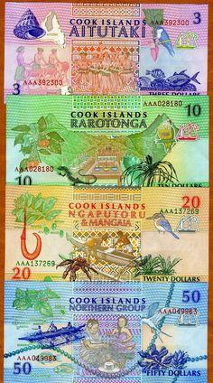 SET, Cook Islands, $3;10;20;50 1992, P-7;8;9;10 UNC picclick.com
