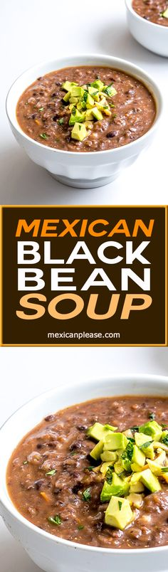 Chipotles in adobo and roasted tomatoes give this Mexican Black Bean Soup incredible flavor. I like the heat to be subtle, but you can always amp it up. Avocado bits highly recommended as a topper. So good! mexicanplease.com