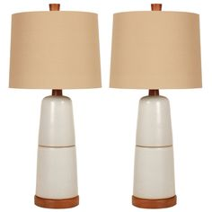Pair of Stone White Double Stack Ceramic Lamps by Gordon Martz | From a unique collection of antique and modern table lamps at https://www.1stdibs.com/furniture/lighting/table-lamps/