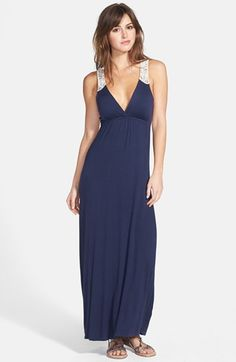 FELICITY & COCO Crochet Back Jersey Maxi Dress (Regular & Petite) (Nordstrom Exclusive) available at #Nordstrom