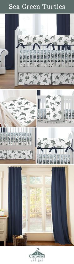 Escape to the seaside with these adorable sea turtles. With shades of green accented with navy, this collection is perfect for your seaside inspired nursery.