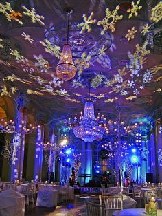 Rotating snowflake lighting. We used this at my other workplace last winter through Peter Corvalis Productions.
