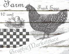 Graphique numérique de ferme frais oeufs instantanée Télécharger Vintage transfert jute lin poule imprimable graphiques n° 1348