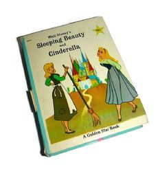 Vintage Disney Cinderella & Sleeping Beauty Story Book Little Big Book 60's Walt Disney Cartoon Childrens Fairy Tale Classics by Golden Star