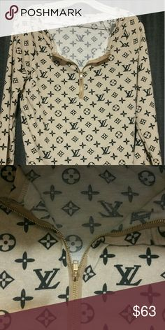 Louis vuitton logo gold zip shirt New without tags. Long sleeve, beige with black lv logo Tops Tees - Long Sleeve