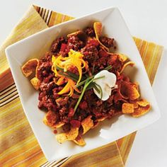 Chili-Corn Chip Pie — our healthy (and tastier!) version of Fritos Chili Pie | CookingLight.com