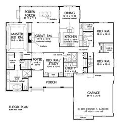 Add hearth room to RT of dining: Home Plans - Square Feet, 4 Bedroom 3 Bathroom Traditional Home with 2 Garage Bays Dream House Plans, House Floor Plans, My Dream Home, Dream Homes, Trinity House, I Love House, House Layouts, Traditional House, Traditional Kitchens